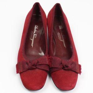 Salvatore Ferragamo red suede pumps frayed bow